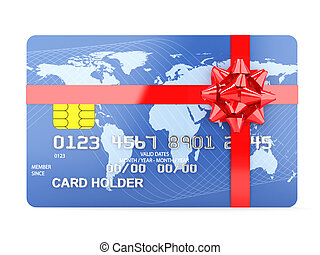 Gift credit card - 3d illustration of gift credit card...