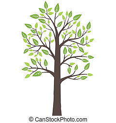Stylized tree with fresh leaves - This image is a vector...