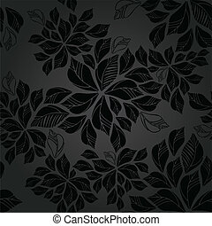 Seamless charcoal leaves wallpaper pattern This image is a...