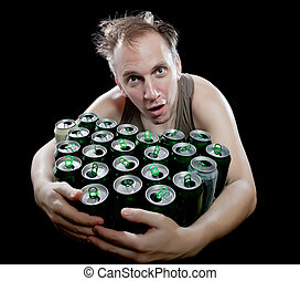 a, bêbado, homem, lote, vazio, Cerveja, latas
