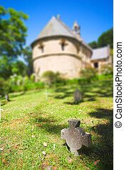 Olde Belvedere Church - Old headstones and graves made from...