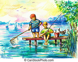 Fishing - Two happy boys fishing.Picture created with...