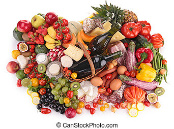 composition of fruit,vegetable,meat and cheese