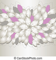 Silver and pink flowers and leaves book cover or greeting...