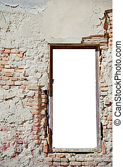 urban decay white isolated window frame template with copy...
