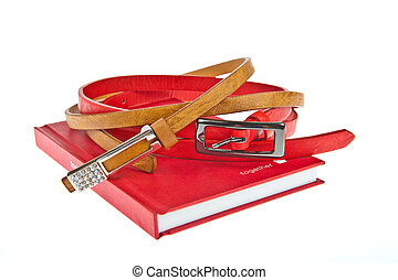 Colorful lady fashion belt and red cover book with word...