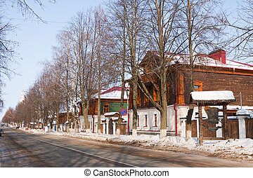 Street at Suzdal in winter, Russia