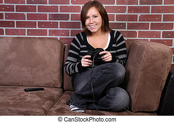 women playing video game - happy women playing video game