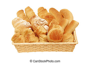 Bread and Pastry in the basket isolated on white background