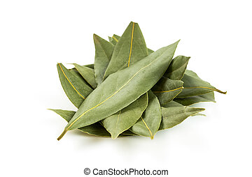 Bay leaf isolated on white - heap bay leaves isolated on...