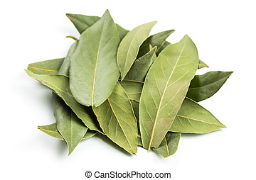 Bay leaf and pepper isolated on white background