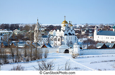 Pokrovsky monastery at Suzdal in winter Russia