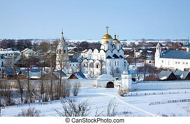 Pokrovsky monastery at Suzdal in winter - Pokrovsky...