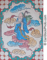 Old man spirit on a wall in chinese temple
