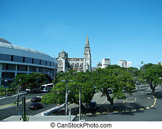Overview of Brasilian city - Overview of downtown city in...