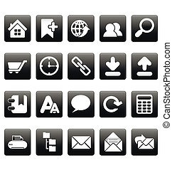 White web site icons on black squares