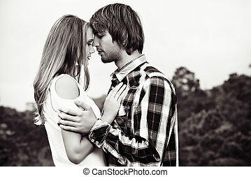 going to kiss - Portrait of young people in love tenderly...