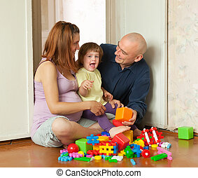 Happy family plays in home - Happy family plays in home...