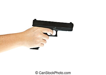 Airsoft hand gun, glock model with hand aim the target