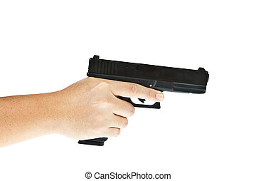 Airsoft, mano, arma de fuego, glock, modelo, mano,...