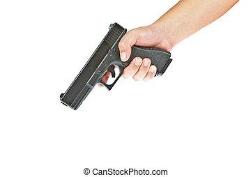 Airsoft, mano, arma de fuego, glock, modelo, mano, puntería,...