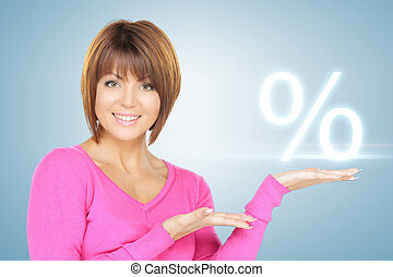woman showing sign of percent in her hand - picture of woman...