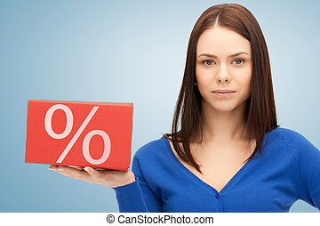 woman with big percent box - picture of friendly woman with...