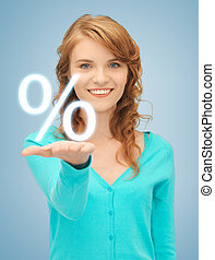 girl showing sign of percent in her hand - picture of girl...