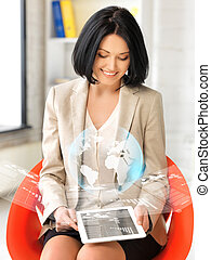 woman with tablet pc and virtual screen - picture of happy...