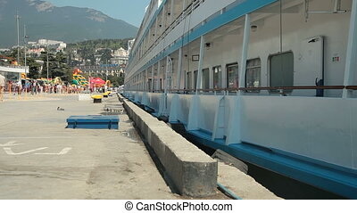 Cruise Ship Moored In Harbor. Yalta, Crimea
