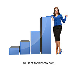 businesswoman with big 3d chart - beautiful businesswoman...