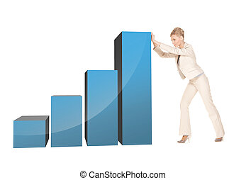 businesswoman moving big 3d chart - picture of beautiful...