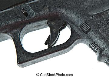 doble, cerradura, seguridad, disparador, airsoft, mano, arma...