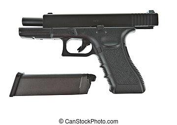 Airsoft hand gun and magazine, glock model