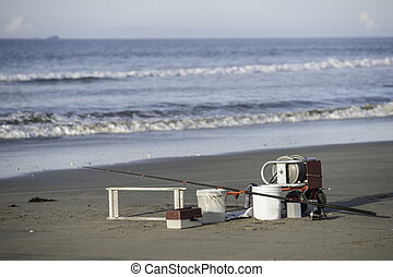 Fishermans equipment. - Fishermans equipment on the beach.