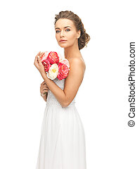 woman with bouquet of flowers - picture of young woman with...