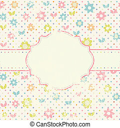 Vintage floral card with handdrawn flowers - Vintage card...