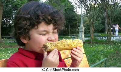 Little Boy Likes Corn