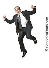 Businessman on white background - Jumping businessman in a...