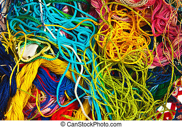 Colorful knitting wool background