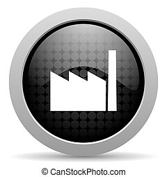 industry black circle web glossy icon