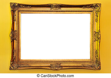 Empty picture frame - Empty gold picture frame on yellow...
