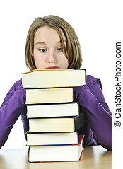 Teenage girl studying - Frustrated teenage girl studying at...