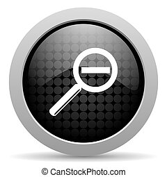 magnification black circle web glossy icon