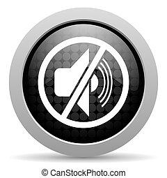 mute black circle web glossy icon