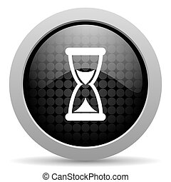time black circle web glossy icon