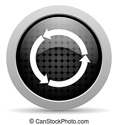 refresh black circle web glossy icon
