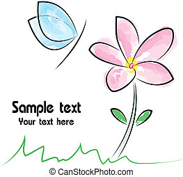 Vector image of an flower and butterfly on white background