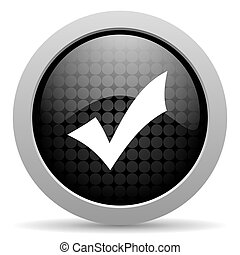 accept black circle web glossy icon