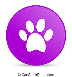 animal footprint violet circle web glossy icon - pink circle...